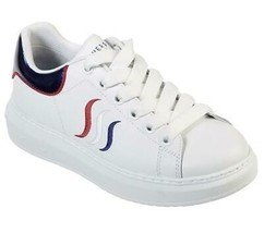 Skechers ESSS Platform Red White Blue Embroidered White Leather Sneakers... - $49.99