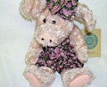 Boyds Bears Plush Pig in Print Romper and Hair Bow