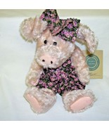 Boyds Bears Plush Pig in Print Romper and Hair Bow - $28.04