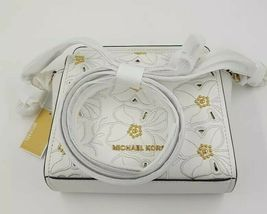 Michael Kors Sofia Stud Flower Crossbody Leather Small Bag White 35H8GO5C1L BNWT image 6