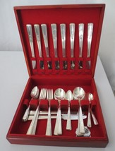 42 pc Wm Rogers IS Art Deco Revelation 1 1938 Silverplate Red Mahogany Case - $125.00