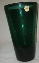BAYEL SPECKLED CRYSTAL  CRISTAL GREEN VASE FRANCE - $165.00