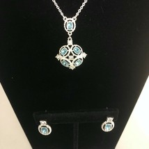 Avon Lyonetta Aqua Blue Earrings Pendant Set Silvertone Rhinestones  - $14.84