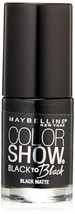 Maybelline Color Show Back to Black Nail Polish Lacquer #706 Black Matte - $4.31