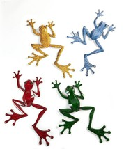 Set of 4 Pond Life Frog Metal Wall Plaques Decor - Yellow, Green, Blue, Red