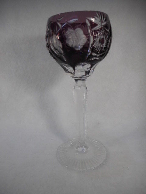 Vintage Amethyst Bohemian Czech Glass Cut to Clear Wine Goblet