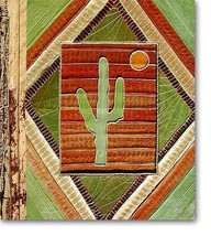Leaf Notebook Journal Hand Crafted Bali Saguaro Cactus Sun Natural New! - $12.20