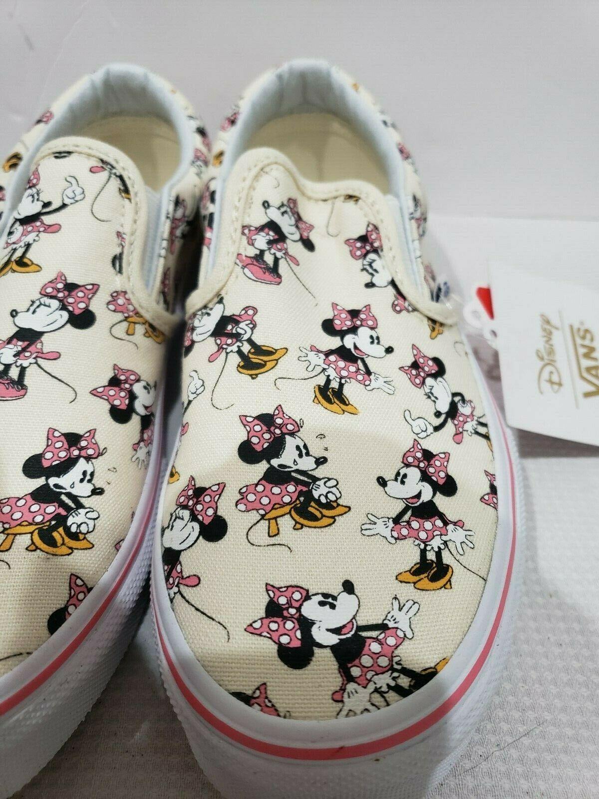 KIDS VANS Disney Authentic Minnie Mouse Classic Slip On Shoes Size 2