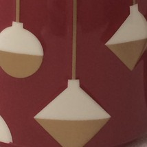 Starbucks larger Red Christmas Coffee Mug with white and gold hanging ornaments - $19.79