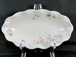"Pfaltzgraff Tea Rose Fluted Relish Dish Oval Cream Stoneware with Pink Roses 9"" - $13.54"