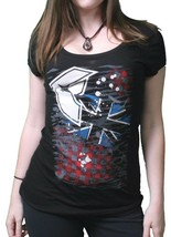 Famous Stars & Straps Mujer Júnior Londres Punk Cuello Redondo Camiseta Negra image 1