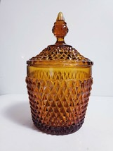 Vintage Diamond Point Amber Indiana Glass Ice Bucket Biscuit Jar with Lid - $24.74