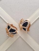 Vintage Black Enamel Butterfly Crystal Rhinestone Fashion Clip On Earrings - $40.00