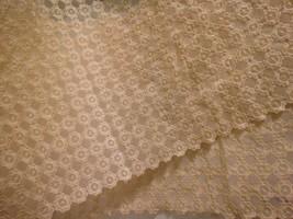 "VTG Lace Fabric Table Topper Runner 60""X13"" Ecru Beige Scallop Edge Mid ... - $11.83"