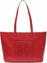 DKNY Tilly Stacked Logo Top Zip Tote Medium Red - $89.00