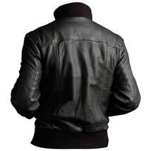 Mens Motorcycle 4 Pockets Ribbed High Collar Black Biker Bomber Leather Jacket image 2