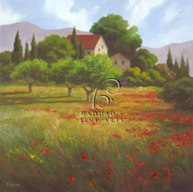 Olives & Poppies by Vivien Rhyan European Tuscan Poppies Landscape Canvas Giclee - $345.51