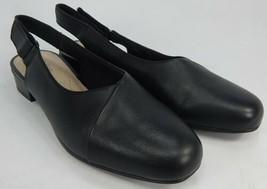 Clarks Juliet Pull Size US 6 M EU 36 Women's Leather Slingback Pumps Shoes Black - $33.65