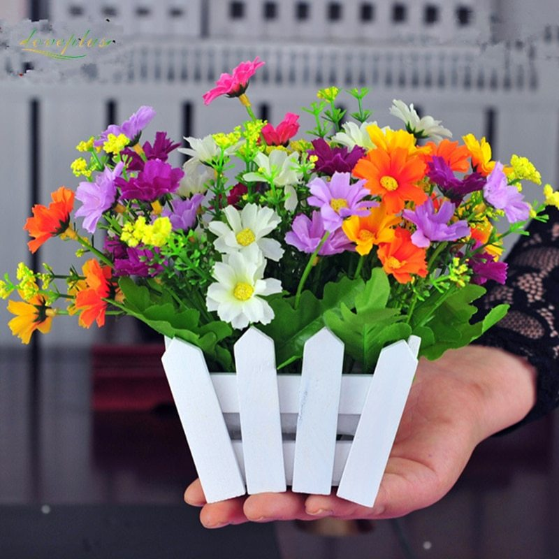 E simulation artificial flowers small potted plant fake chrysanthemun set with picket fence gift
