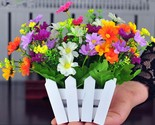 Rtificial flowers small potted plant fake chrysanthemun set with picket fence gift thumb155 crop