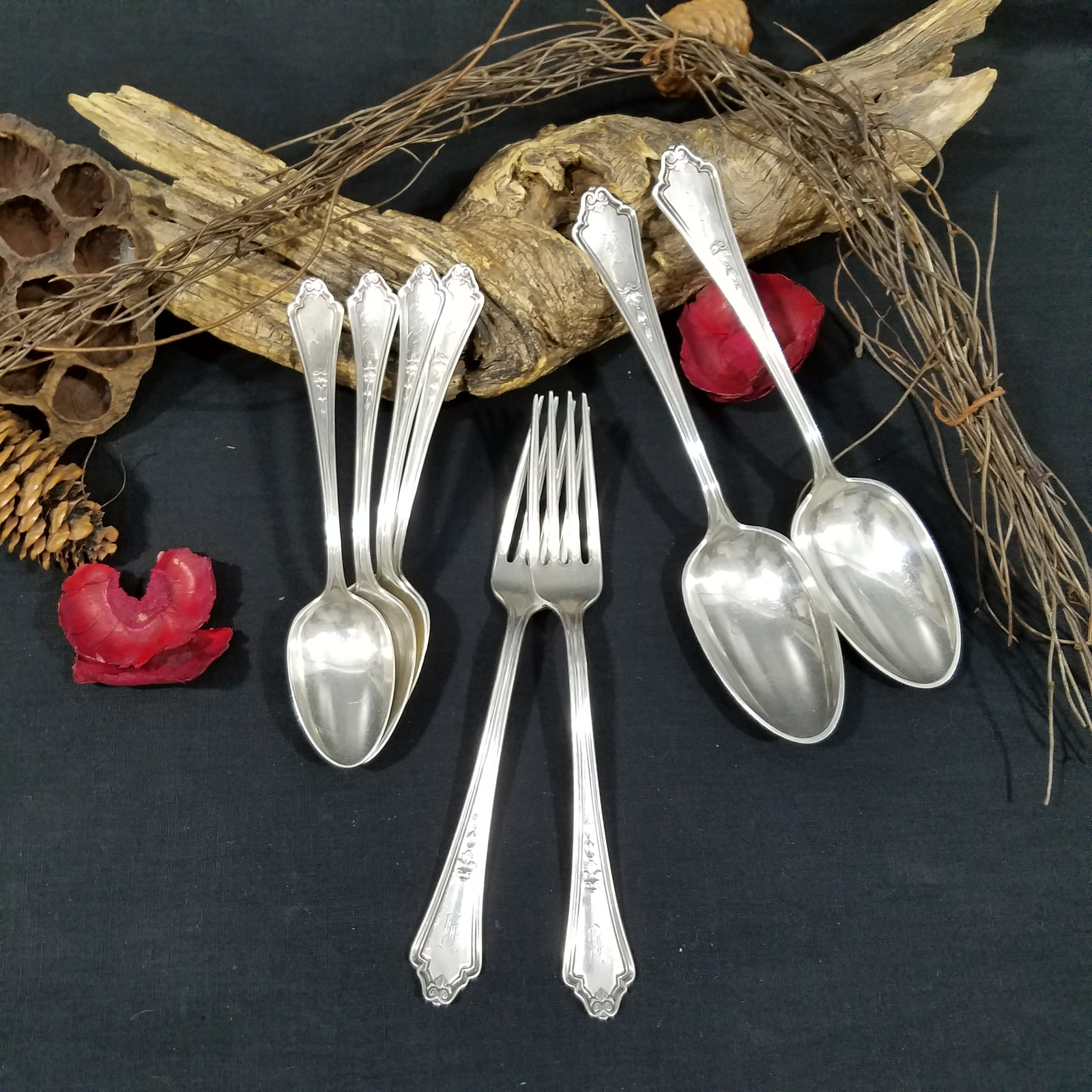 Primary image for 8 Pieces Assorted Flatware Gorham Silverplate Shelburne Pattern 1914