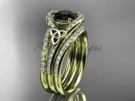 Black Diamond celtic trinity knot wedding Set, 14kt yellow gold diamond CT7317S - $3,140.00