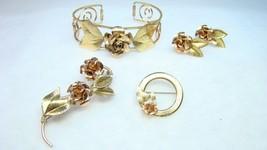 Krementz Gold Filled 4pc Rose Cuff Bracelet Pins Earrings Lot - $49.99