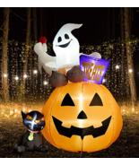 SUPERJARE 6 Ft Inflatable Lantern-Ghost-Cat, Airblown Halloween Decorati... - $119.99