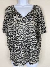 Express Womens Size L Animal Print Relaxed Blouse V Neck Short Sleeve - $14.85