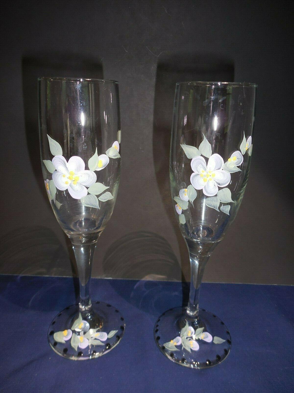 "Hand Painted Champagne Glasses Purple Flowers Lavendar Violet Signed EK 8"""