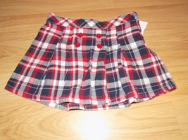 Girl's Size 5 Gymboree Red White Navy Blue Plaid Pleated Mini Skirt EUC - $14.00