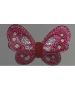 "Pink Cloth Butterfly Hair Clip - Alligator Clip - 3 1/4"" x 2 1/4"". - $1.37"