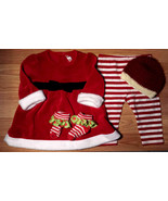 Girl's Size 6 M 3-6 Months 4 Piece Red Velour Santa Dress, Leggings, Cap + - $27.00