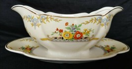vintage Johnson brothers pareek langhorn england china gravy bowl scalloped  - $49.49
