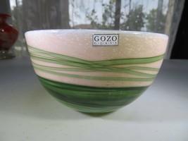 Gozo Malta heavy Pop Art Glass Green Vegetal bowl in manner of Novaro - $30.00