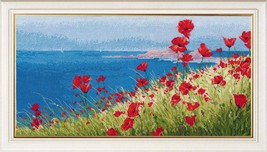 Cross Stitch Kit Hand Embroidery Landscape Summer Sea Poppies Flowers - $31.00