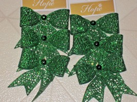CHRISTMAS ORNAMENTS GLITTERY GREEN BOWS SET OF 6 - $6.44