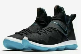 Nike Lebron 14 PRM Red Carpet Mens 943323-002 Black Glass Blue Shoes Size 9 - $99.94
