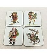 Pottery Barn Christmas Drink Coasters Lot of 4 w Vintage Santa's T42 - $18.32