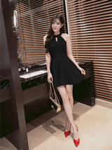 PF260 sexy cute sleveless swing mini dress, size S-XL, black - $18.80