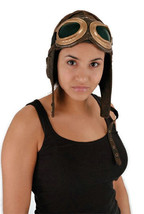 SteamPunk WW I Aviator Style Brown Hat & Brown/Green Goggles NEW UNWORN - €31,76 EUR