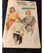 1987 Vogue Sewin Pattern 7044 SZ 8-12 Blouse Uncut - $5.45