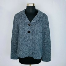 Charter Club Gray Black Abstract Print Two Button Buttoned Down Jacket B... - $39.59