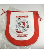 VTG Red White Cloth Toilet Seat Cover Cartoon Novelty House Rules Paperw... - $12.28
