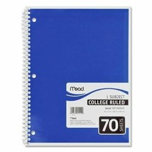 """Mead Spiral Notebook,1-subject,college Rule,70 Sh,10-1/2""""x8"""",ast. Case P... - $46.97"""