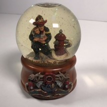 San Francisco Music Box Company Hero Water Globe Firefighter Saving Child  - $55.74