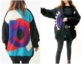 80's Mohair Geometric Cardigan / Ugly Warm Cozy Sweater With Open Front M - $45.82