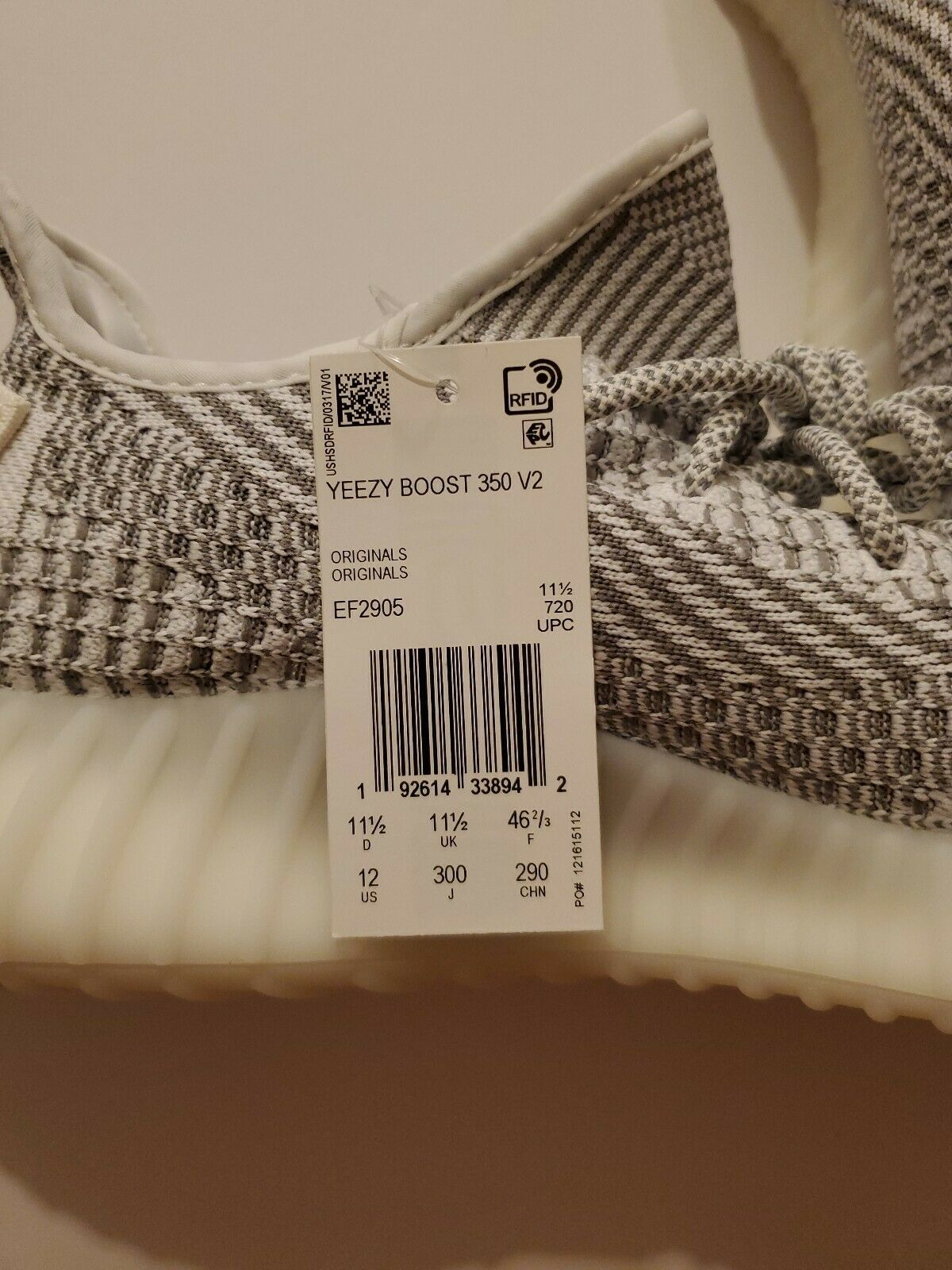 Adidas Yeezy Boost 350 V2 Static EF2905 size 12 non reflective 100% authentic image 8
