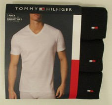 3 TOMMY HILFIGER MENS 100% COTTON BLACK V NECK S M L XL XXL T-SHIRTS UND... - $27.62+