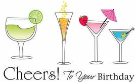 Happy Birthday Cheers To Your Birthday Cocktail Glasses Edible Cake Topp... - $9.99